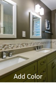 Add color to a small bathroom design