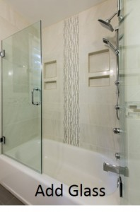 Add glass to a small bathroom design
